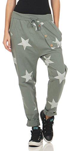 Malito Damen Jogginghose mit Knopfleiste | Sporthose mit Sternen | Baggy zum Tanzen | Sweatpants - Trainingshose 3303 (Oliv)