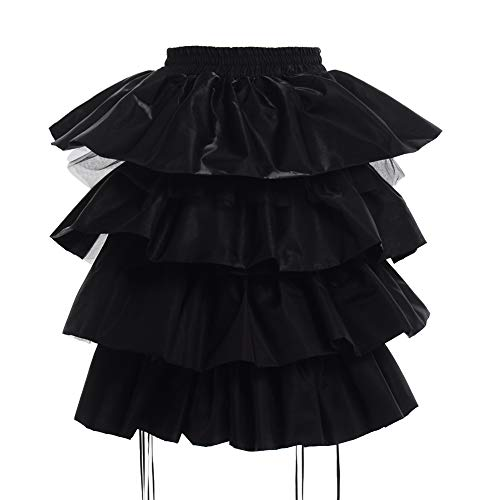 GRACEART Girls Lolita Dress Bustle Pannier Adjustable Petticoat Underskirt (Black, Large)