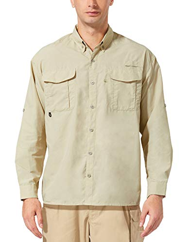 BALEAF Men's UPF 50+ Hiking Shirt Long Sleeve Shirt Outdoor Lightweight Quick Dry Fishing Shirts Khaki S