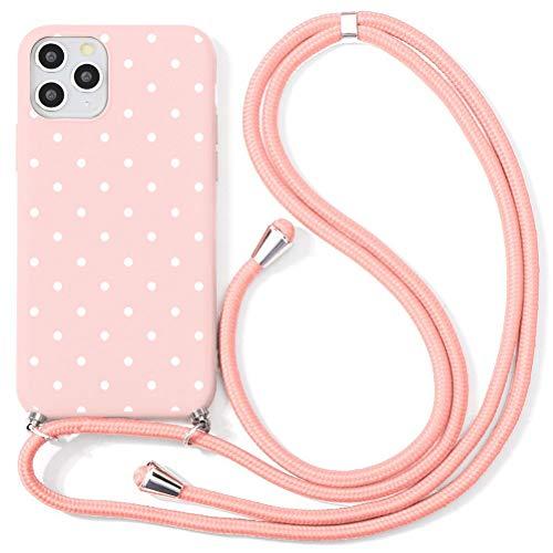 Eouine Capa transversal para Xiaomi Mi 9 Pro [6,3 polegadas] – Cordão de pescoço com capa Mi 9 Pro – Alça ajustável de TPU com estampa de silicone rosa antiarranhões – Ponto ondulado