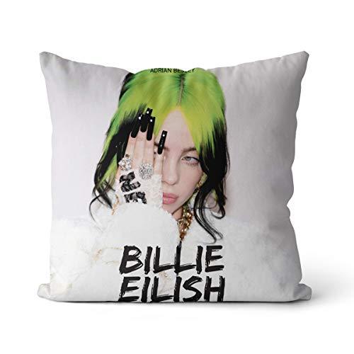 Funda de Almohada súper Suave Billie Eilish 40x40cm más Popular Billie Eilish Adecuada para sofá Funda de Almohada de enfermería, sin Relleno