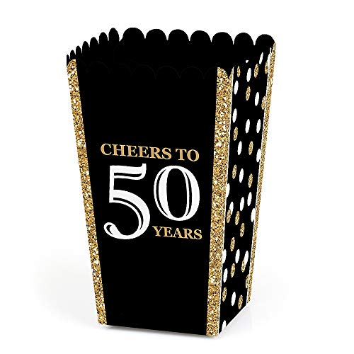 Big Dot of Happiness Adult 50th Birthday - Gold - Birthday Party Favor Popcorn Treat Boxes - Set of 12