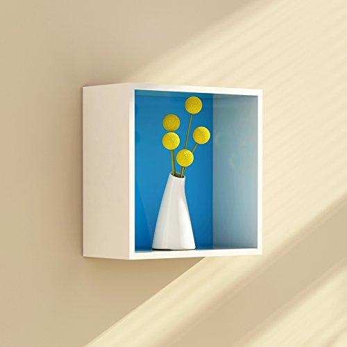 Étagères murales TV fond mur cintres étagères étagères cadres carrés décoratifs L * H: 32 * 32 cm ( Couleur : Bleu )