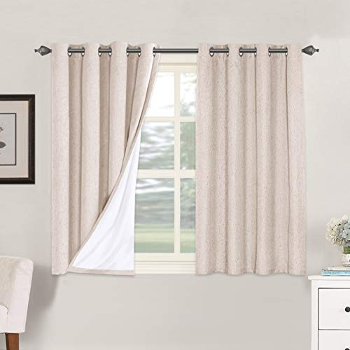 Linen Blackout Curtains 45 Inches Long 100% Total Blackout Heavy-Duty Draperies for Bedroom Living Room Thermal Insulated Textured Functional Window Treatment Anti Rust Grommet (Natural, 2 Panels)