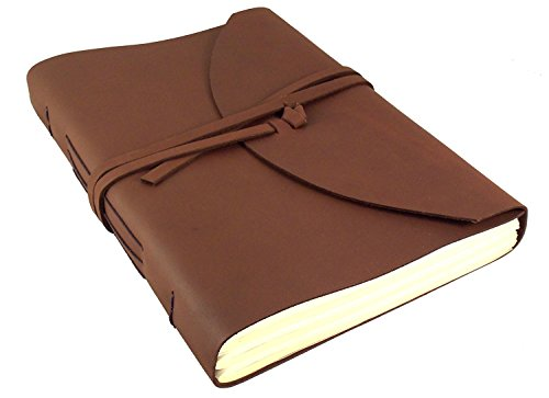 "Large Genuine Leather Legacy Journal / Sketchbook with Gift Box - 380 Pages - 9"" x 12"" - Rich Dark Brown"