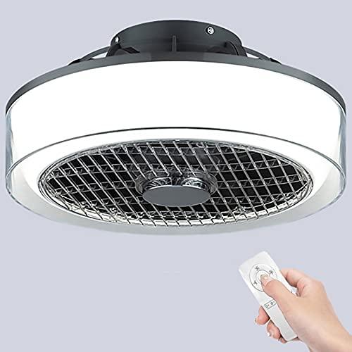 Ventilatore Da Soffitto Moderno Con Illuminazione LED Dimmerabile 3 Temperature Di Colore Lampada A Soffitto Con Telecomando Ventilatore Invisibile Soffitto Morbido Per Soggiorno,Nero