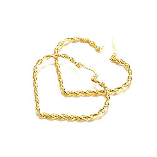 Pendientes de aro de corazón grande para las mujeres oro color trenzado acero inoxidable colgante mujer moda streetwear joyería