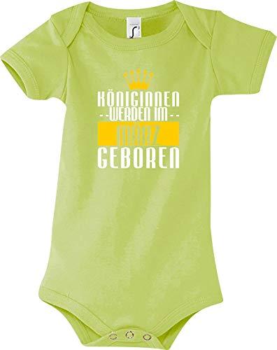 Shirtstown Body Bebé Königinnen Werden Im März Nacido - Green, 12-18 Monate