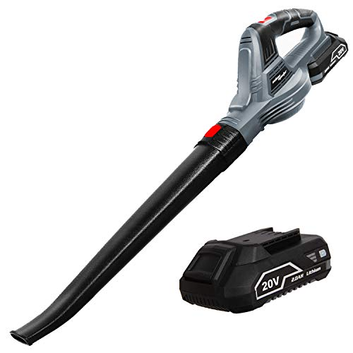 SALEM MASTER Leaf Blower, 120MPH 20V MAX Lithium Battery-Powered Cordless Leaf Blower Electric Lightweight Portable Blower for Garden/Garage/Driveway/Deck (with 2.0AH Battery and Charger)