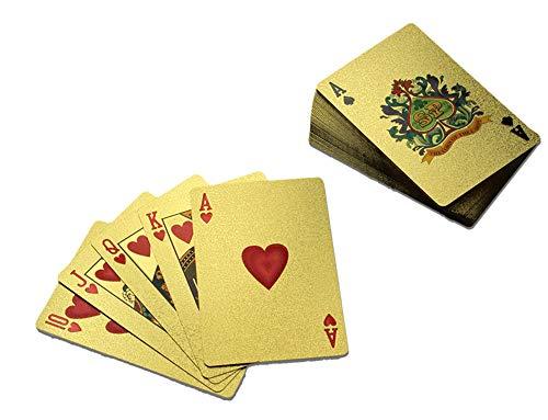 Monsterzeug Vergoldetes Kartenblatt, Goldfarbene Spielkarten, Kartenspiel Gold, 54 Plastik Karten mit Goldfolie überzogen, 24 Karat