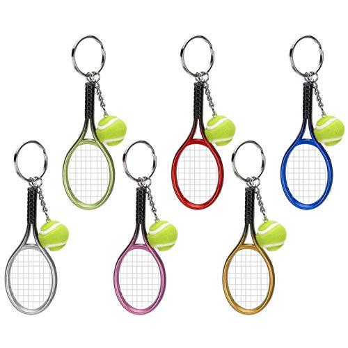 Crisist Mini Llavero De Raqueta De Tenis, Colgante De Bolsa, 6 Piezas, Regalo De Plástico Ligero para Amigos para Equipaje para Bolsa