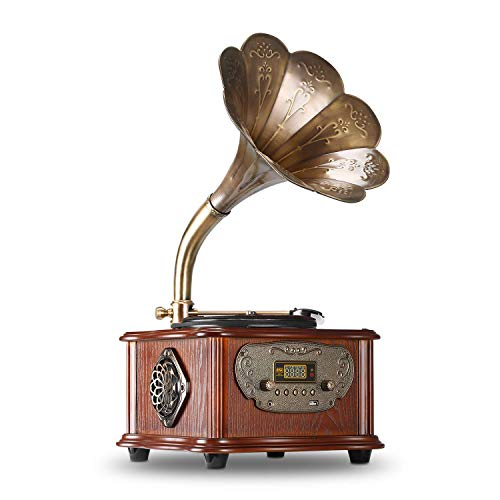 LuguLake Record Player Retro Turntable All in One Vintage Phonograph Nostalgic Gramophone for LP with Copper Horn, Built-in Speaker 3.5mm Aux-in/USB/FM Radio