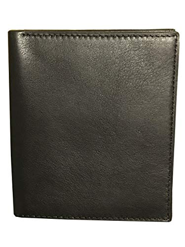 E Elton Genuine Lambskin Leather Hipster Bifold Wallets for Men Black