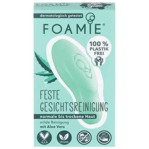 Foamie - Feste Gesichtsreinigung | 80g | Für normale bis trockene Haut - pH-optimiert | Aloe Vera und beruhigende Mandelmilch | 100% vegan - ohne Plastik - keine Tierversuche