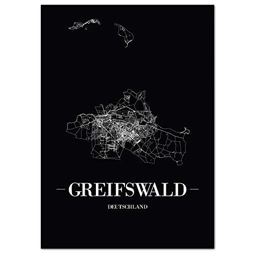 JUNIWORDS Stadtposter, Greifswald, Wähle eine Größe, 40 x 60 cm, Poster, Schrift A, Schwarz