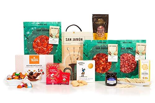 San Jamón - Cesta Regalo Gourmet Ibérica, Béjar. Chorizo, Lomo y Salchichón Ibéricos, Crackers, Bombones, Shortbreads, Cacahuetes, Mermelada y Té