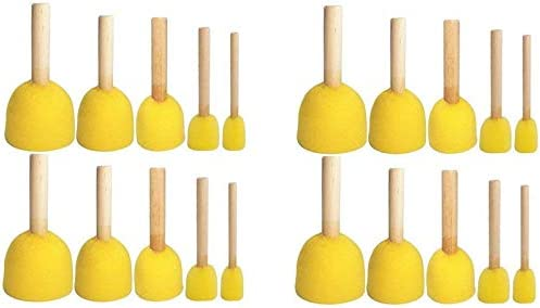 Boloniprod 20 Pcs Round Stencil Sponge Wooden Handle Foam Brush Furniture Art Crafts Painting product image