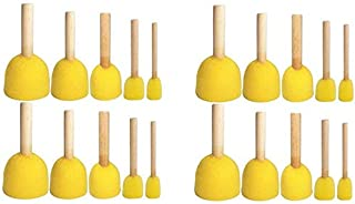 Boloniprod 20 Pcs Round Stencil Sponge Wooden Handle Foam Brush Furniture Art Crafts Painting Tool Supplies Painting Stippler Set DIY Painting Tools in 5 Sizes for Kids (Style 1)