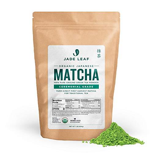 Jade Leaf Organic Matcha Green Tea Powder - Authentic Japanese Origin - Premium First Harvest Ceremonial Grade (1 Pound)