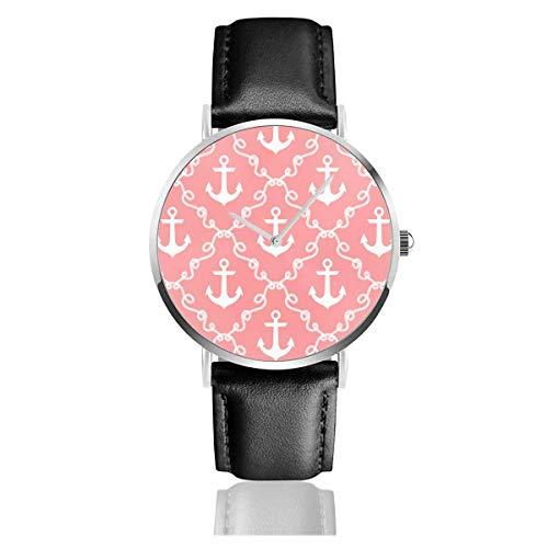 Reloj de Pulsera Reloj de Cuarzo Ancor Damask Coral Relojes Casuales con Reloj de Cuero Negro