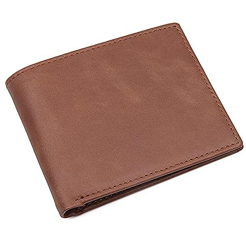 TTWLJJ Cartera Hombre, Billetera Hombre de Cuero de con RFID Bloqueo, 6 Ranuras para Tarjetas, 2 Ranuras para Billetes,Regalo para Hombres,Light Brown