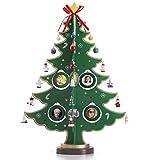 Árbol de Navidad de sobremesa de madera de 43,18 cm con 8 marcos de fotos para colgar, 24...
