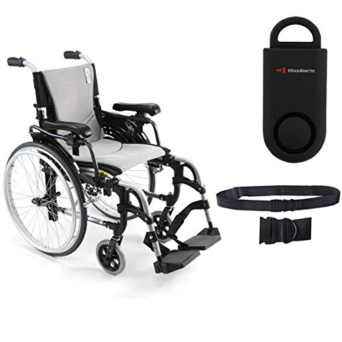 Karman S-Ergo 305 Ultra Lightweight Ergonomic Wheelchair | Adjustable Seat Height | Seat Size 18' X 17' | Frame Color Pearl Silver & Free 130 dB Black Safety Alarm! + Black Belt!