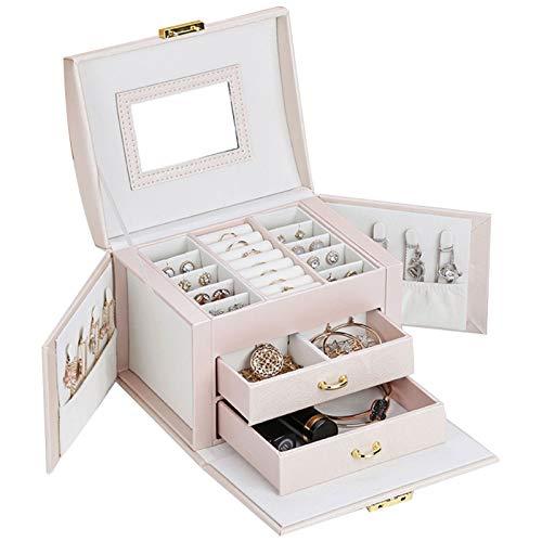 DFGRFN Cajas de joyería para Mujeres,Joyero de Viaje portátil de Cuero con 2 cajones,para Anillos Pendientes Collares Vitrina de Almacenamiento con Espejo Incorporado,White