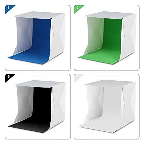 Amzdeal 12in Photo Studio Box Foldable Photo Light Box Professional Photo Booth Box with LED Light 4...