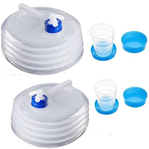 NETT4 PCS(10L+15L+2 Tazas) Contenedor Plegable de Agua,Contenedor Plegable de Agua con Grifo,Contenedor de Agua con Grifo,Cubo de Agua Plegable,Contenedor de Agua PortatilRecipiente de Agua Pl