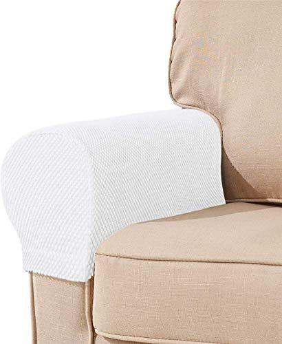 JJYY Fundas de reposabrazos de Tela elástica de Licra, Protectores de Muebles, Fundas de poliéster Antimanchas Lavables para sofá, sillón (Blanco, Juego de 2)