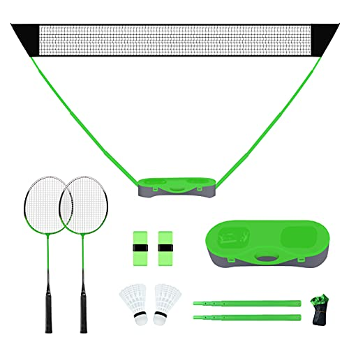 FBSPORT Portable Badminton Net Set with Storage Base, Folding Volleyball Badminton Net with 2 Badminton Rackets 2 Shuttlecocks 10x5 ft Net, Easy Setup for Beach Backyard Combo Set Sport Games