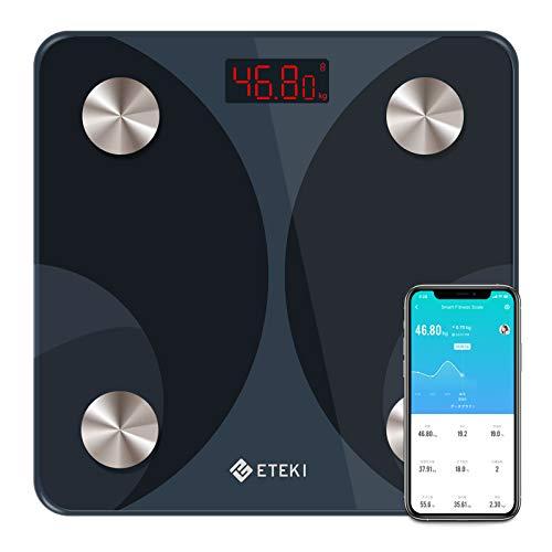 体重計 ETEKI 体組成計 体脂肪計 スマホ連動 高精度&BIA技術 体重/体脂肪率/BMI/内臓脂肪/筋肉量など測定可能 ボディスケール Bluetooth対応 健康管理 肥満予防 Apple Health/Fitbit/Google Fitと連携可能 日本語対応APP&取扱説明書