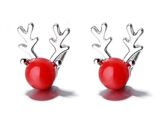 S925 Sterling Silber Ohrringe Ohrringe Einfache Hongzhushan Elchgeweih Frau Ohrringe Ohrringe Exquisite Weihnachten Art Deco/Rot / 6x8mm