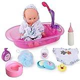 Little Newborn Baby Bathtime Doll Bath Set - Bañera de trabajo real con rociador de ducha desmontable y accesorios, juguete educativo para jugar a la hora del baño, regalo para niños