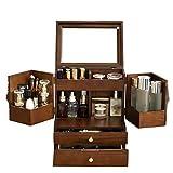 Maleta Vintage, con cajón, Espejo, Puerta de Caja de adsorción magnética, Talla Tridimensional Madera, Americanos...