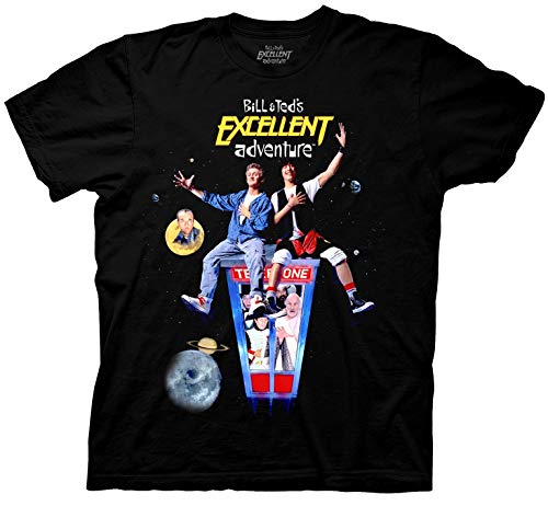Ripple Junction Men's Bill and Ted T-Shirt - Bill & Ted's Excellent Adventure Mens Fashion Shirt - Keanu Reeves Tee (Black, Small)