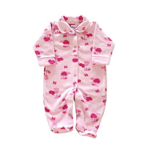 Macacão de Inverno Bebê - Pijama de Soft Quentinho (Rosa Raposinha, M)