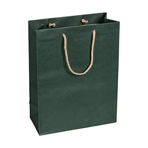 Papiertragetasche Grün, 22 x 29 x 10 cm, mit Baumwollhenkel Papiertasche, Geschenktüte Kraftpapier - 12 Stück/Pack