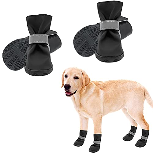 SCENEREAL Dog Boots Waterproof Anti-Slip Dog Shoes for Outdoor Summer Hot Pavement Soft Comfortable