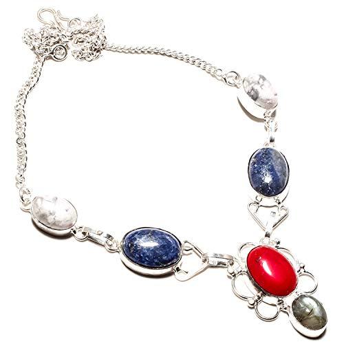 jewels Paradise Red Coral & Lapislazzuli, Howlite, Labradorite, collana fatta a mano in argento Sterling 925 placcato – Collana regolabile – (SF-1340)