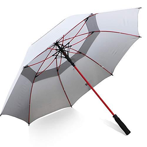 ZOMAKE 157cm Automatische Öffnen Golf Schirme Extra große Übergroß Doppelt Überdachung Belüftet Winddicht wasserdichte Stock Regenschirme (Grau)