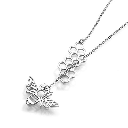 WYFLL European and American Fashion Small Animal Bee Hive Necklace18KGoldPlatedSimple Ladies Sweater Chain Titanium Steel Clothing Accessories