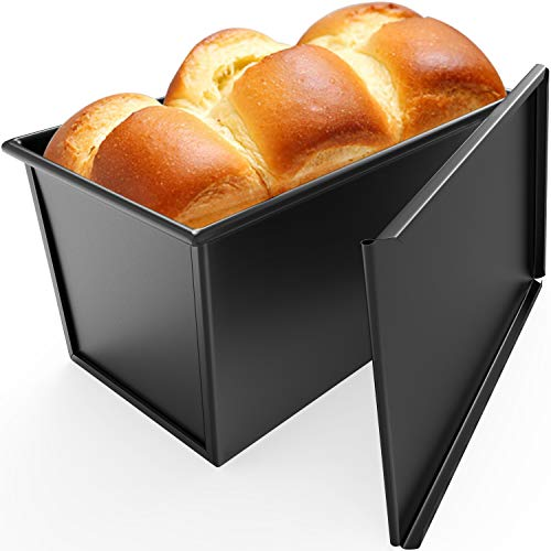 CHEFMADE Loaf Pan with Lid, Non-Stick Bakeware Carbon Steel Bread Rectangle Flat Toast with Cover for Baking Bread - BLack