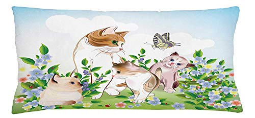 Cat Throw Pillow Cushion Cover, Cute Kittens in Flower Meadow Field Happy Cats Family with Butterfly Kids Cartoon Print, Decorative Square Accent Pillow Case, 18 X 18 inches, Multi