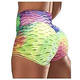Junjie Mallas Deporte Cortos Mujer Tie-Dye Leggins Mujer Push Up Cintura Alta Seamless Elásticos Panal Arrugado Pantalones Deportivos