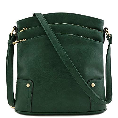 "10.5"" (W) x 11"" (H) x 2.75"" (D) Zipper closure Adjustable shoulder strap with 24"" drop Faux leather & gold tone hardware 1 zipper pocket & 1 open pocket inside"