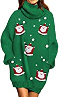Pink Queen Women Turtleneck Loose Print Christmas Long Sweater Dress with Pockets