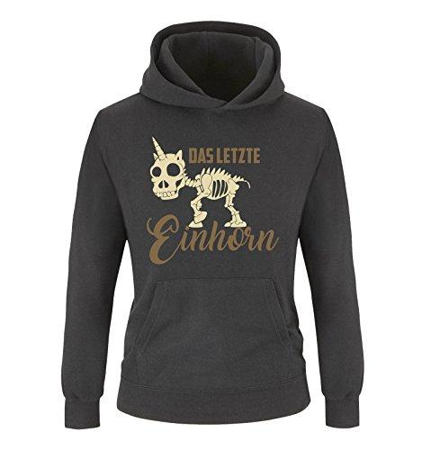 Comedy Shirts Comedy Shirts - Das letzte Einhorn - Skelette - Mädchen Hoodie - Schwarz/Hellbraun-Beige Gr. 152