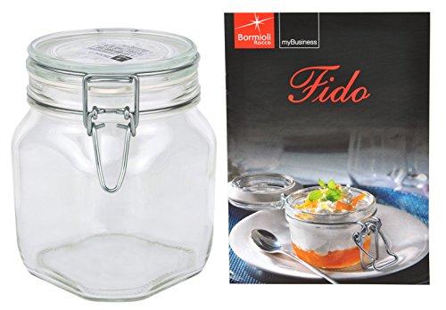 Bormioli Rocco Fido - Bocal en verre à armature métallique - Différentes tailles au choix, Verre, 0,75 Liter